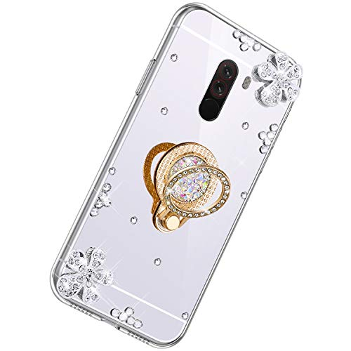 Herbests Cover Specchio per Xiaomi Pocophone F1 Sottile Custodia Silicone Glitter Bling Diamante Brillante con Anello Supporto Cover TPU Silicone Protettiva Morbido Case, Argento