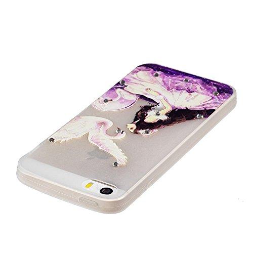 Diamant Schutzhülle für iPhone SE,Leuchtend Luminous Noctilucent Handyhülle für iPhone 5S,Funyye Stilvoll Weiß Pferd Muster Ultradünne Glitter Weiche Flexible Night Luminous Transparent Rückseite Schu Prinzessin Schwan