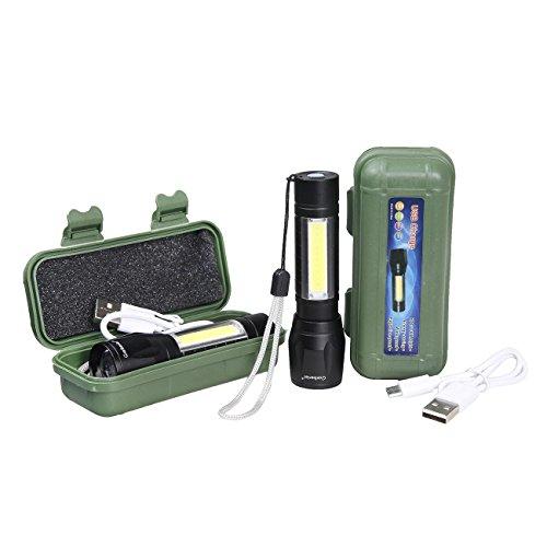 shinetool 2Pack Mini USB Taschenlampe wiederaufladbare LED-Taschenlampe mit COB, EDC einfach Carry für Kid mit Geschenk Fall -