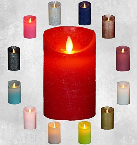 Rot Timer (LED Echtwachskerze Kerze Farbauswahl Timer flackernde Wachskerze Kerzen Batterie, Farbe:Rot, Größe:12.5 cm)