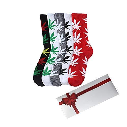 TTD 5 paquetes unisex hoja de hierba impresa calcetines de algodón de hoja de arce impreso calcetines con caja de regalo atletismo deportes marihuana alto equipo calcetines