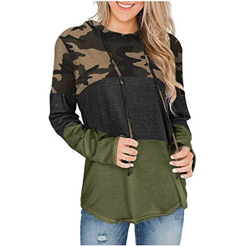 VECDY Damen Tops Mode Frauen Hoodie Mode Langarm Sweatshirt mit Camouflage Print und Patchwork Kapuzenpullover Freizeit Oberteile