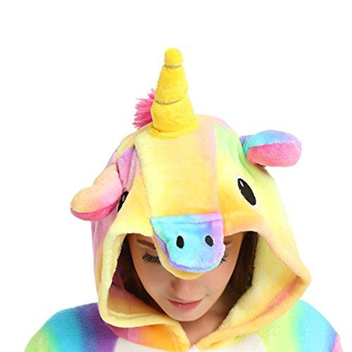 Casa - Adulto Unicorno Pigiama ,Unisex Kigurumi Anime Cosplay Halloween Costume Animale Onesie partito costumi Evento Dress per Adulti e Bambini Unicorno Colorato