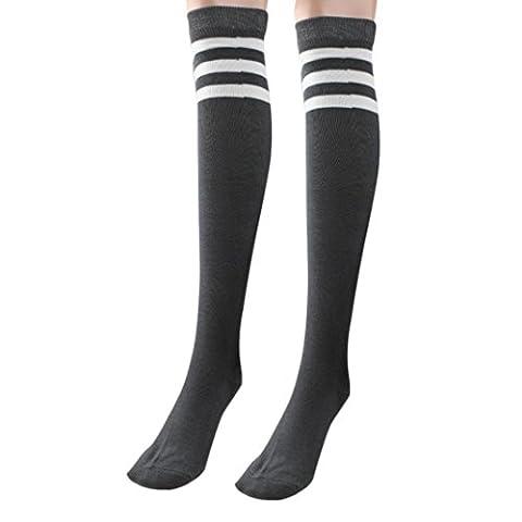 Damen Sportsocken Transer® Knie-Lange Baumwolle Draussen Fußball Basketball Baseball-Socken Strümpfe Größe: 65cm (Gestreifte Verbandsmull)