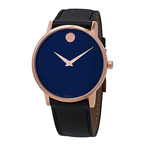Movado Men's Museum Classic 40mm Black Leather Band Swiss Quartz Watch 0607266
