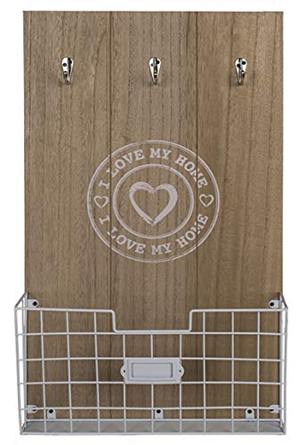 Bada Bing XL Schlüsselbrett Mit 3 Haken I Love My Home Mit Weißem Ablagekorb Holz Natur Schlüsselboard Schlüsselhaken 93