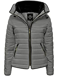 Crazy Girls Womens Ladies Faux Fur Collared Hooded Quilted Padded Puffer Bubble Jacket Coat XS-XL
