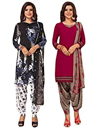 S Salwar Studio Women's Pack of 2 Synthetic Printed Unstitched Dress Material Combo-MONSOON-2870-2885