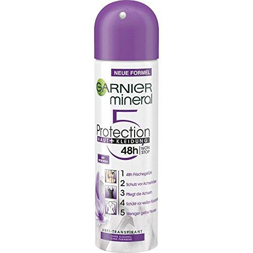Garnier Mineral Deodorant Protection5 Haut + Kleidung Deospray Frauen 48h, 6er Pack (6 x 150ml)