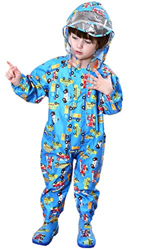 OKSakady Children Toddler Waterproof Rainsuit All in One Puddle Suit Raincoat for Boys and Girls Puddlesuit for 1-7Y