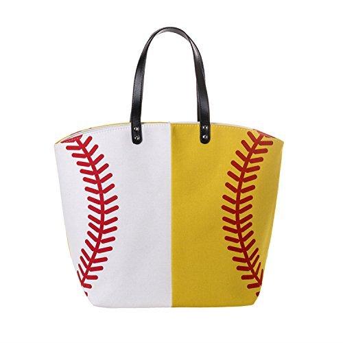 X. SEM Langlebig Übergroße 58,4cm Baseball Softball Canvas Baumwolle Sport Tasche Utility Weekender Beach Totes Schulter Taschen, Baseball&Softball - Papierkorb Tote
