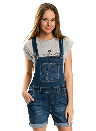 oodji Ultra Damen Kurze Jeans-Latzhose, Blau, DE 34 / EU 36 / XS