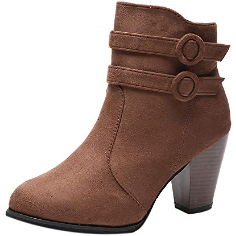 Weant Ceinture Chaussures Femme Bottes Bottines Femmes Boucle De Ceinture Weant Bottes Courtes Chevalier Épais Talon Moto Bottes... - B07HQG326D - 546f62