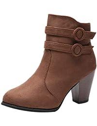 LuckyGirls Botas Zapatos de Tacón para Mujer Hebilla Moda Sexy Botitas  Botines 8cm 99a292029954f