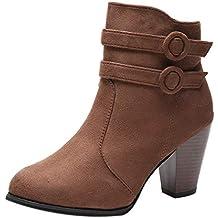 Zapatos tacón Alto de Mujer,Cinturón de Mujer Hebilla Botas Cortas Caballero tacón Grueso Ankle