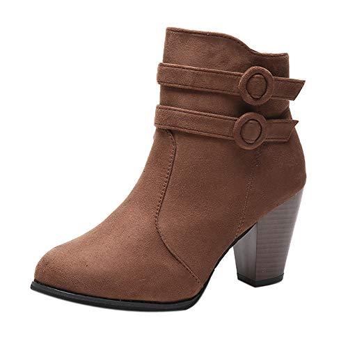 LuckyGirls Botas Zapatos de Tacón para Mujer Hebilla Moda Sexy Botitas Botines 8cm
