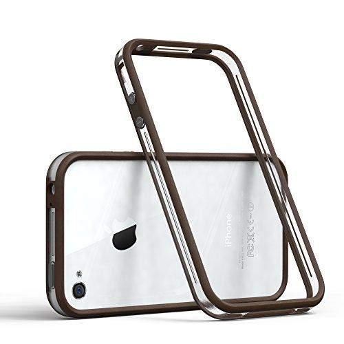 EAZY CASE Bumper für iPhone 4 / iPhone 4S Silikon Bumper für Apple iPhone 4 / iPhone 4S - Flexible Schutzhülle ALS Rahmenschutz in Braun
