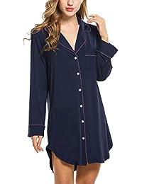 Damen Nachthemd Pyjama Negligee V-Ausschcnitt Nachtkleid Schlafshirt Langarm Modal Schlafanzüge Nachtwäsche Sleepwear Kleid