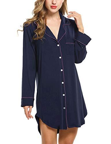 Avidlove Damen Viktorianisch Nachthemd T-shirt Luxus Nachtwäsche- Gr. M, Langarm 1: Dunkelblau (Rosa Langarm-pyjamas)