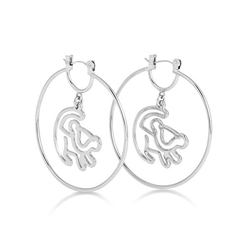 Disney Couture Platinum Simba Outline Hoop Earrings Couture Platinum