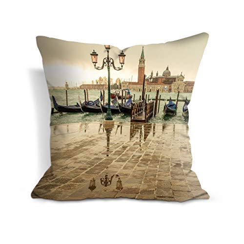 GONIESA Cotton Polyester 16x16 Inch/40cmx40cm Italy san Giorgio Maggiore Venice Decor Throw Pillow Covers Printed Cushion Case