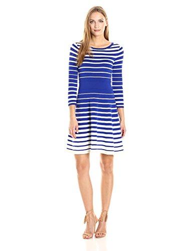 Milly Degrade Damen Kleid, gestreift - Blau - Groß - Kobalt-blauer Streifen