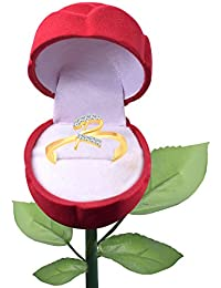 Vighnaharta Initial ''R'' Letter With Rose Ring Box CZ Gold And Rhodium Plated Alloy Finger Ring For Girls And...