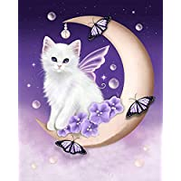 Orsit 5D Diamond Painting DIY by Painted Kit Craft Home Wall Decoration -Moon cat(12X16inch/30X40CM)