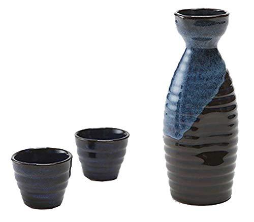 Black Temptation Bouteille de vin en céramique de Style Ancien mis en Verre Set de vin de saké, M5
