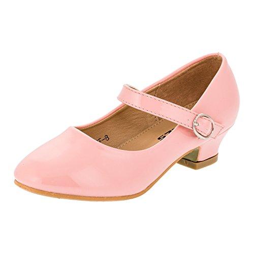 Max Shoes Festliche Mädchen Pumps Ballerina Schuhe Absatz Lackoptik in Vielen Farben M322rs Rosa Gr.35