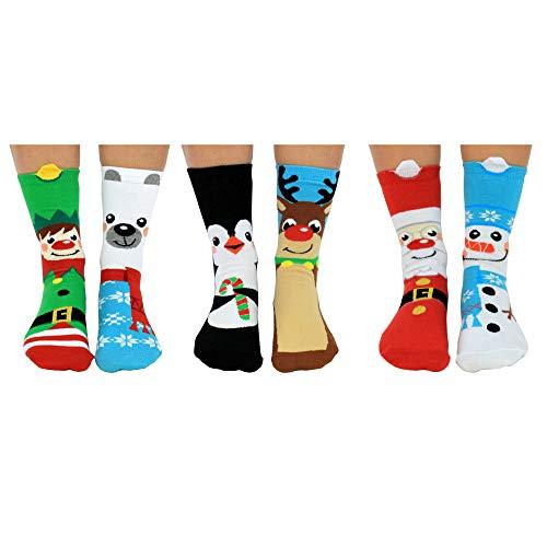 Santa\'s Squad Weihnachten Oddsocks Socken für Kinder in 30,5-38,5 im 6er Set - Strumpf