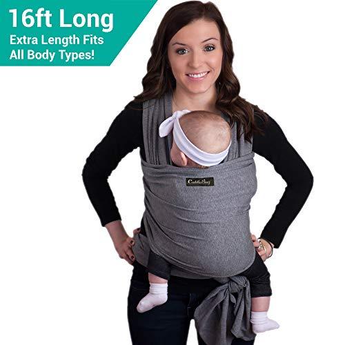 CuddleBug Fular Portabebés 9 en 1 - Canguro para Bebés Recién Nacidos y Niños hasta 16 Kg - Manos libres - Porta Bebés de Tela Suave y Elástico - Ideal como Regalo de Babyshower - Talla Única - (Gris)
