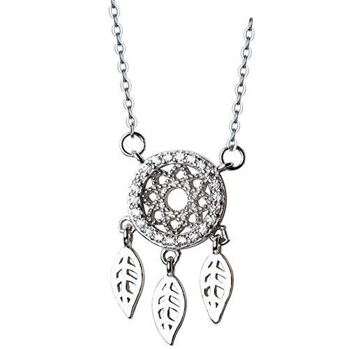 SXXDLL Silber Halskette Weiblichen Diamanten Traumfänger Halskette Literarische Kleine Frische Blätter Schlüsselbein Kette Weiblich