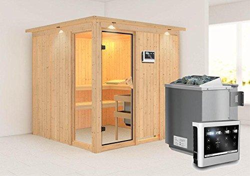 Helin - Karibu Sauna inkl. 9-kW-Bioofen - mit Dachkranz -