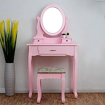 CherryTree Furniture PINK Dressing Table 3 Drawer Makeup Dresser Set With  Stool Oval Mirror