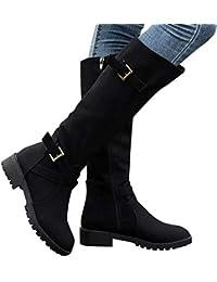 Amazon.es: botas negras planas mujer 4 7 cm Zapatos