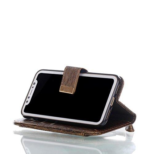 iPhone X hülle, Voguecase Kunstleder Tasche PU Schutzhülle Tasche Leder Brieftasche Hülle Case Cover für Apple iPhone X(Krokodil Muster II/Hellgrau) + Gratis Universal Eingabestift Krokodil Muster II/Braun