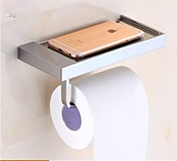 Generic High-end Roll Paper Tissue Holder Brass Rack Mobile Phone Rack Bathroom Toilet Paper Wall Mount Burgundy