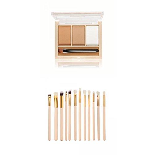 12pcs/Kit Pinceaux de Maquillage à Sourcil Yeux et Lèvres Rose Or +3 Couleus Compacte Kit de Fard à Sourcils - # 1