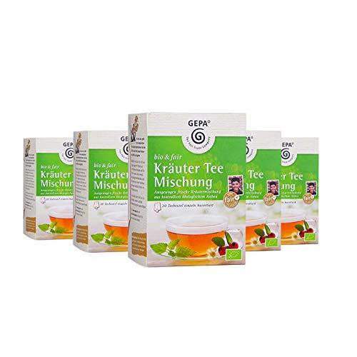 Gepa Bio Kräutertee Mischung - 100 Teebeutel - 5 Pack ( 20 x 1,7g pro Pack)