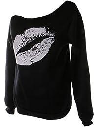Generic Femme Sweatshirt Epaule Nu Sexy Top à Manches Longues en Coton Motif Mode