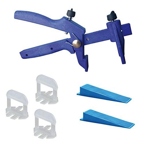 Lantelme 6016 Fliesen Nivelliersystem Basis-Set für Fuge 2mm und 3 - 15 mm Stärke - Verlegehilfe - Verlegesystem - Fliesenverlegung - Fliesenverlegehilfe - Fliesenverlegesystem - blue Edition