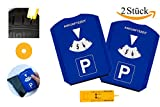 Gibtplus 2 Stück Parkscheibe Parkuhr mit Reifenprofiltiefenmesser, Eiskratzer und Einkaufswagenchip Kunststoff blau fürs Autos