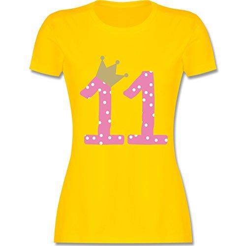 Geburtstag - 11. Geburtstag Krone Mädchen Elfter - tailliertes Premium T-Shirt mit Rundhalsausschnitt für Damen Gelb