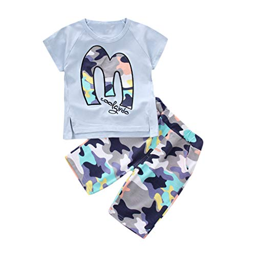 Cuteelf Kids Baby Jungen Outfits Set Letter T Shirt Tops+Camouflage Shorts