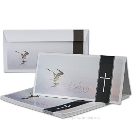 50 x Trauer-Set I Danksagungs-Trauer-Doppelkarten mit Umschlägen DIN Lang 21 x 19,8 cm I Hochglanz I Serie: Helmar - Möwe