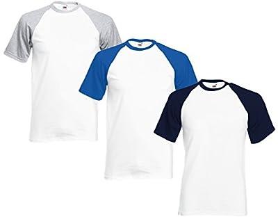 Mens Baseball TShirt (3 Pack) F&M® 100% Cotton Short Sleeve T Shirt