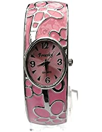 Women's Carved colour bracelet watch Women's Fashion Style Watch Beauty Dress Watch Unique Design -Pink