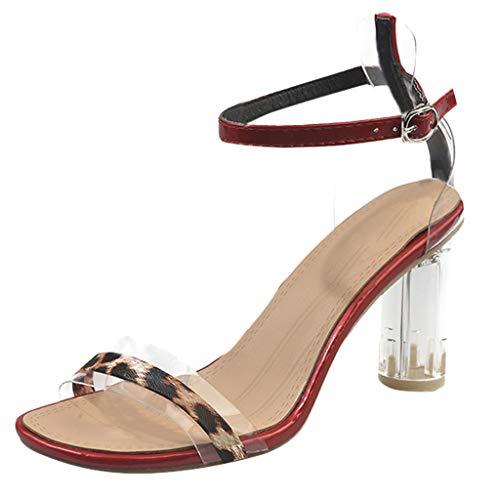 FELZ Sandalias Sandalias de Vestir Zapatos de Leopardo de Boca Transparente para Mujer Sandalias de tacón Alto con Correa de Hebilla