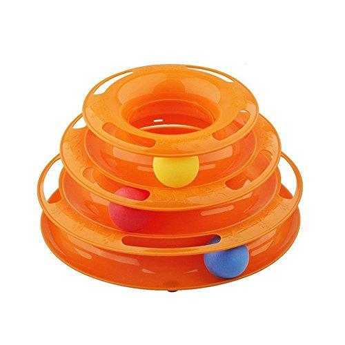 Aidle Pet Tres palancas Torre de las pistas Interactive Cat Juguetes Pet Ball juguetes placa de diversión para uno o más gatos(naranja)